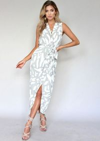 Sleeveless Printed Strap Split Maxi Dress $28.10
