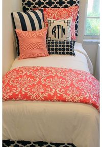 C Navy Designer Dorm Bed In A Bag Room
