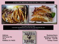 If you are searching delicious and satisfactory food visit Taqueria Durango Fairfield Mexican Restaurant serve best quality food. Call Today: (707) 673-2867 FOR MORE INFORMATION CLICK ON THE LINK MENTION BELOW: https://www.taqueriadurangobbq.co...