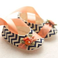 Baby Shoes, Free Personalization, Navy Chevron with Peach and Orange Details. $37.00, via Etsy.