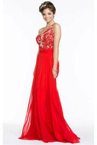 Charming One Shoulder Chiffon Yarn Natural Sleeveless Prom Dresses