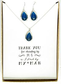 Set of 6 Navy Blue Necklace and Earrings Set Silver, Bridesmaid Silver Necklace Earrings Set - Bridesmaid Blue Jewelry - Wedding Gifts - MP6 $244.50
