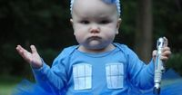 {my kid would wear this as an everyday outfit! lol} If you have a tiny one in your Doctor Who wedding - TARDIS baby tutu (or just the most perfect Halloween costume ever!! Parenting, you're doing it right!)