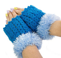 Wedding fingerless mittens as warm gift for wife, half finger gloves. Blue arm warmers $33.00