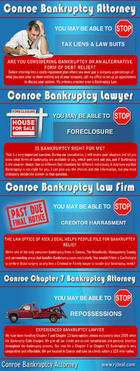 Visit this site http://www.rjdeal.com/ for more information on Conroe Bankruptcy Lawyer. The Conroe Bankruptcy Lawyer should be able to tell you what options you have and recommend the best one for you. Choosing an experienced bankruptcy lawyer will benef...