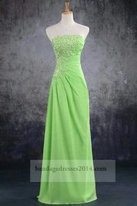 Lime Beaded Ruched Long Prom Dresses 2014
