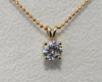 Pendant Diamond Pendant Solitaire Pendant 4.3mm 14K Yellow or White gold chain included Minimalist pendant $666.00