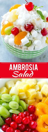 This recipe for ambrosia salad is a variety of colorful fruit with marshmallows and coconut, tossed in a light and creamy dressing. An easy salad that's a classic for good reason, people always beg me for the recipe!