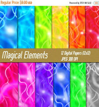 50% OFF SALE Magical Element Digital Paper Pack, Lights and Orbs, Plasma, Scrapbook Textures, Printable Supplies, Paper Crafts, Commercial