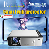 Wireless LED 720P 3D Projector Portable HD Mobile Phone Home Theater HDMI/USB/SD T6 Mobile Phone With Screen Version