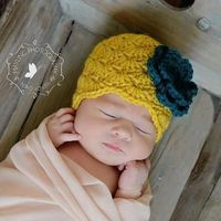 Vintage Inspired Newborn Baby Hat with Flower - Photo Props, Photography Props, Girls, Infant, Yellow, Green (Available in Different Color)