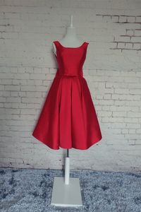A Line Bateau Neck Low Back Short Red Satin Party Prom Dress With Bow