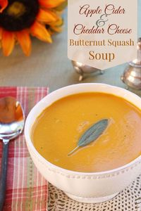 Apple Cider & Cheddar Cheese Butternut Squash Soup is velvety smooth, cheesy comfort food   cupcakesnadkalechips.com   gluten free, vegetarian