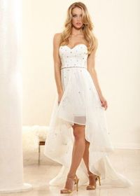 Ivory Strapless Crystal Beaded High-low Mesh Evening Gown