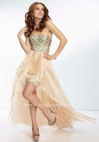 Shimmer gold Mori Lee beaded bodice high low evening dress 95013