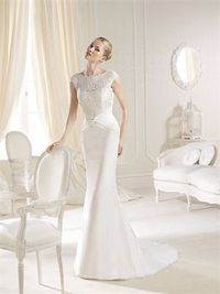 Romantic mermaid bateau lace sweep train wedding dresses