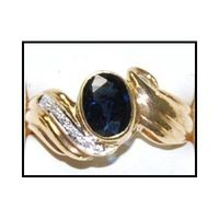 Solitaire Diamond 18K Yellow Gold Oval Blue Sapphire Ring [RS0179]