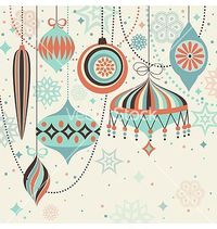 Christmas vintage card with baubles vector - by aviany on VectorStock®