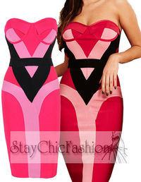 Hot Pink Strapless Bandage Dress With Padded Cups Hot Sale
