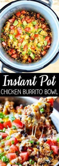 This recipe for Instant Pot Chicken Burrito Bowl is packed with flavor and so easy to make. Boneless, skinless chicken breast, mexican rice, black beans, and fi