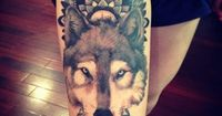 mandala/wolf tattoo. #tattoo #tattoos #ink