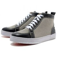 Christian Louboutin Men High Top Gray-Black Canvas Sneakers on Sale