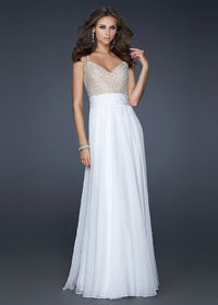 Cheap Spaghetti Strap White Long Embellished Bodice Prom Dress