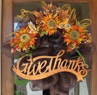 deco mesh wreaths | Give Thanks Fall Deco Mesh Wreath by blueeyedbabyboutique on Etsy