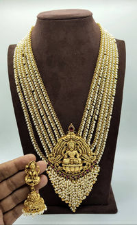 Most beautiful Indian traditional matte finished long Haram with earing $242.00