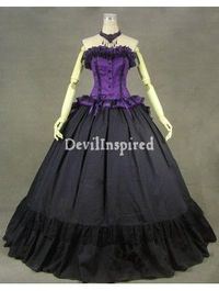 Purple and Black Gothic Victorian Masquerade Ball Gowns