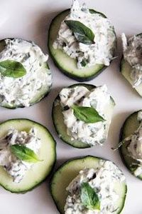 Cucumbers with cream cheese.