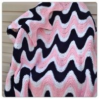 Wave Crochet Baby Afghan (Pink, White, Black)
