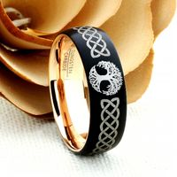 Personalized Ring Custom Engraving Promise Ring For Men Women Celtic Knot Tree Of Life 8mm Matte Black Tungsten Wedding Band $108.00
