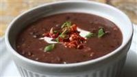 Pumpkin Black Bean Soup...kind of like a cross between ham and bean and tortilla soup. I know it sounds terrible, but you have to try it!