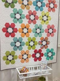 Hexie Garden Quilt Pattern by Atkinson Designs at KayeWood.com. Stars and flowers fill this springtime garden. At first glance, your customers might think Hexie Garden is beyond their skill The block is sewn together in rows like a 9-patch. Terry's sp...