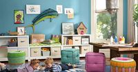Fun can go all the way to the floor in a playroom.