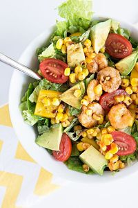 Spicy Shrimp and Avocado Salad by dineanddish.net