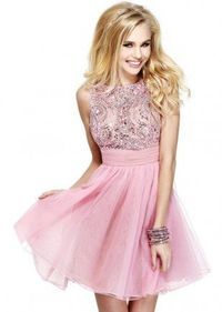 Rhinestone Sequined Top Pink Short Tulle Homecoming Dress