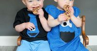 "This has to be one of the cutest Sesame Street theme photos I have ever seen. It would be the perfect photo for a Sesame Street birthday party invitation �€"" the his-and-hers Cookie Monster outfits. The cookies, the twins' beautiful blue ..."