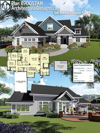 Architectural Designs Craftsman House Plan 890057AH gives you over 2,400+ square feet of heated living space. Ready when you are, where do YOU want to build? #890057AH #adhouseplans #architecturaldesigns #houseplan #architecture #newhome #newconstruction ...