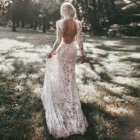 High Neck Boho Lace Wedding Dress $378.99