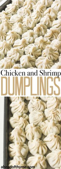 Easy to make chicken and shrimp dumpings can be steamed, boiled or fried and served with a side of soy sauce for dipping! | aheadofthyme.com