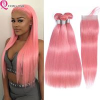 Queena 8a Peruvian Straight Remy Hair Pink Bundles With Closure Baby Hair Dyed Human Hair Weave Swiss Lace Closure With Bundles $222.21