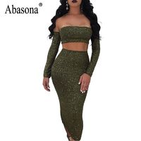 Women's Sexy Off Shoulder Sparkle Lace Up Two Piece Backless Party Dress Set By Abasona $36.99