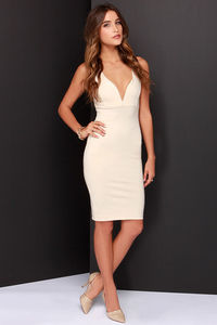 That Thing You Do Light Beige Bodycon Dress by LuLu*s