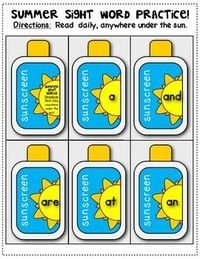 Summer {Sight Word} Fun: Practice Anywhere Under the Sun! Includes 40 sight words on sunscreen bottles (plus a cover and a blank one). Print, cut, punch a hole (laminate if desired) and hang on a ring. PERFECT as a student gift for the end...