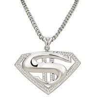 XXL Silver Plated CZ Pendant Iron Rope Chain 8.2mm Necklace £4.95