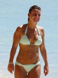 Coleen Rooney in a bikini at the beach in Barbados