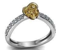 Contour Rose Flower Ring Yellow Rose Unique Engagement Ring 18K Gold Flower Ring Diamond Ring Art Nouveau Floral ring For Her $475.00