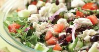 Everything I love about Greek salad is in this dip. Similar in concept to a Seven Layer Mexican Dip, this dip gets a fresher and lighter twist by layering tasty